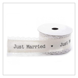KATOENEN LINT MET KANT · IVOOR WIT 3,5 CM · JUST MARRIED