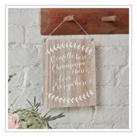 CONFETTI HERE, CHAMPAGNE - TEKSTBORD · HOUT