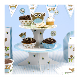 CAKESTAND PINK BLUE OWLS
