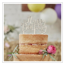 TAARTTOPPER · HOUT HAPPY BIRTHDAY