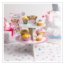 CAKESTAND PINK LITTLE OWLS