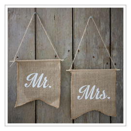 MR / MRS - STOELBANNERS · JUTE WIT