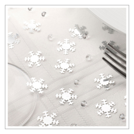 CONFETTI · SHIMMERING SNOWFLAKES · ZILVER