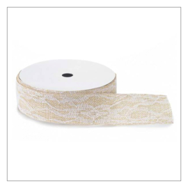 BAND JUTE MET KANT · NATUREL WIT 3,8 CM