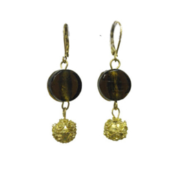 Round Glass Earrings Olive