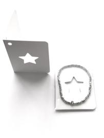 10 x Wit Gift kaartje met Masai Beads armbandje Ster