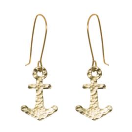 Hammered Brass Anchor Earrings