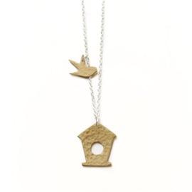 Hammered Brass Bird Box Necklace