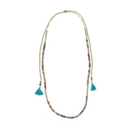 Kantha Tassel Wrap Necklace