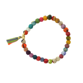 Kantha Tasseled Bead Bracelet