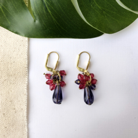 Cluster Earrings Aubergine