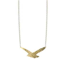 Hammered Brass Seagull Necklace