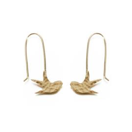 Hammered Brass Swallow Earrings