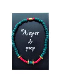 Zwart Wens/Gift kaartje met Masai Beads armbandje