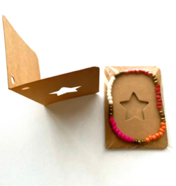 10 x Kraftbruin Gift kaartje met Masai Beads armbandje Ster