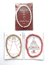 Actie Set van 30 Kerst Wens/Gift kaartjes met Masai Beads armbandje