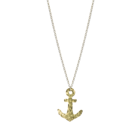 Hammered Brass Anchor Necklace