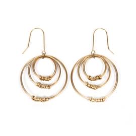 Brass Ribbon Triple Hoop Earrings