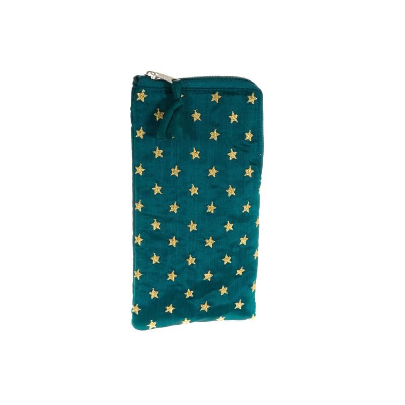 Bril-Etui / Telefoonhoes Star Smaragd