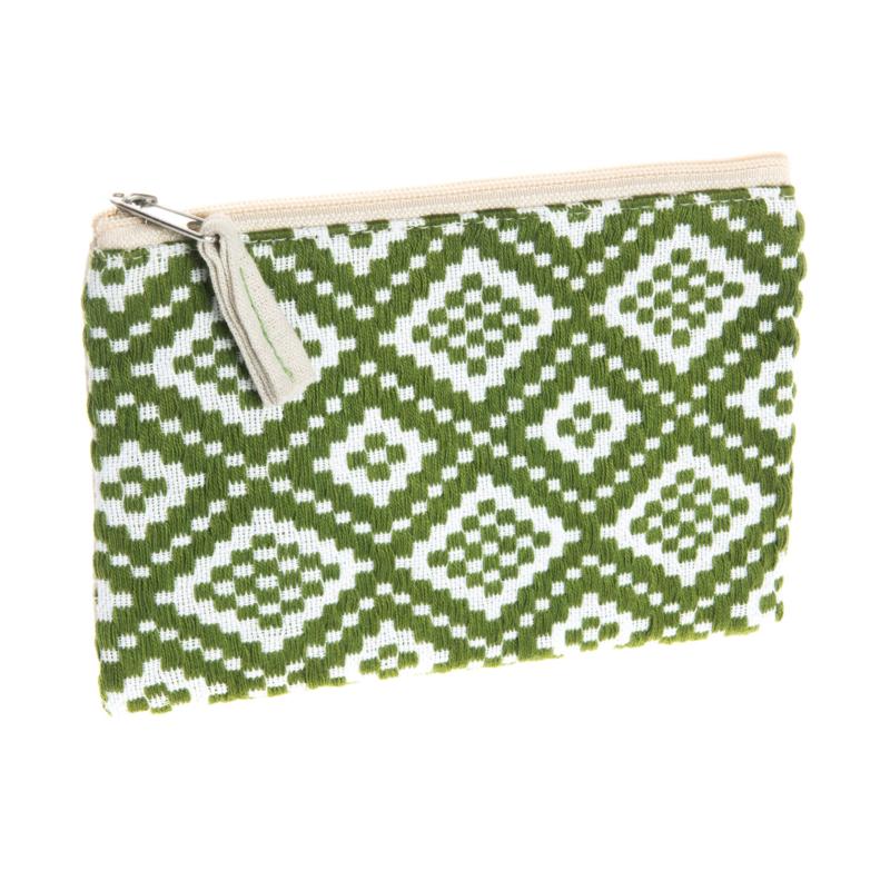 Handgeweven portemonneetje olijfgroen