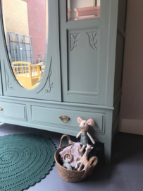 Brocante drie deurs eiken spiegelkast Jolein
