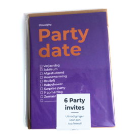 10 x Set van 6 Party dates Typo