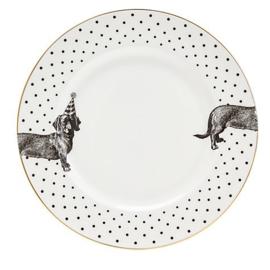 Yvonne Ellen dinerbord zwart wit Hond