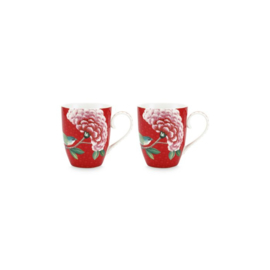 Pip studio Blushing Birds rood mok (set van 2)