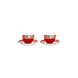 Pip studio Blushing Birds rood kop en schotel set/2