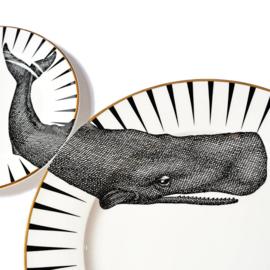 Yvonne Ellen dinerbord zwart wit walvis