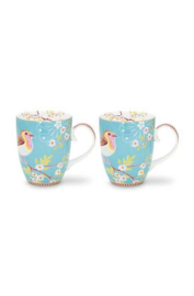 Pip studio Early bird mok blauw (set van 2)