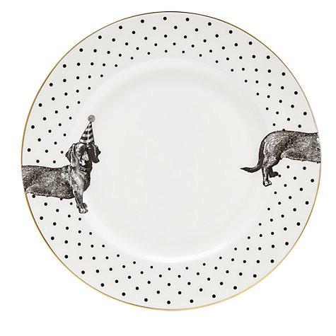 Yvonne Ellen dinerbord zwart wit Teckel