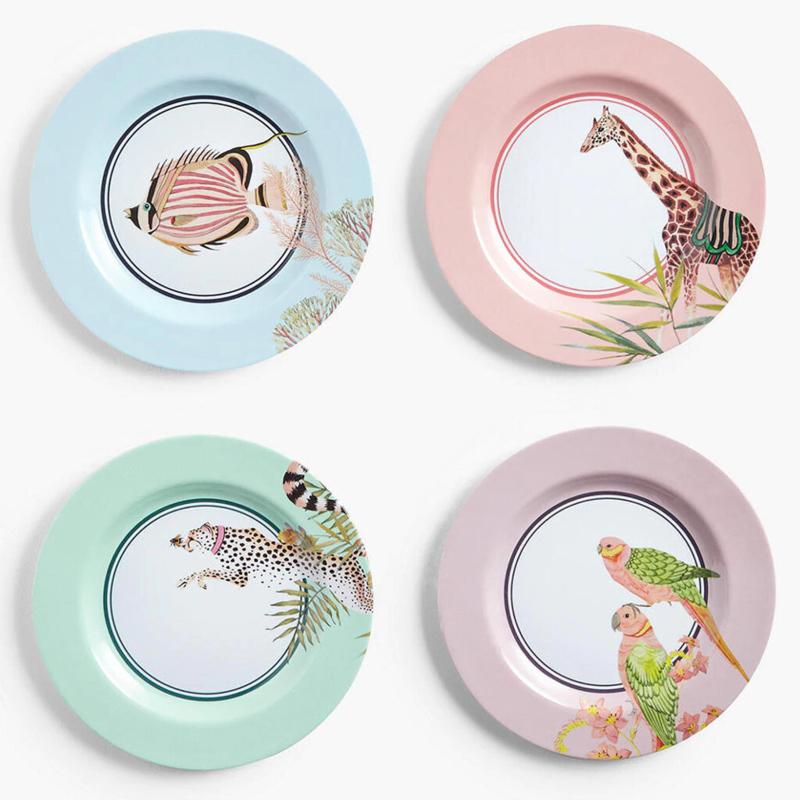 Yvonne Ellen Picnic melamine set van 4 ontbijtborden