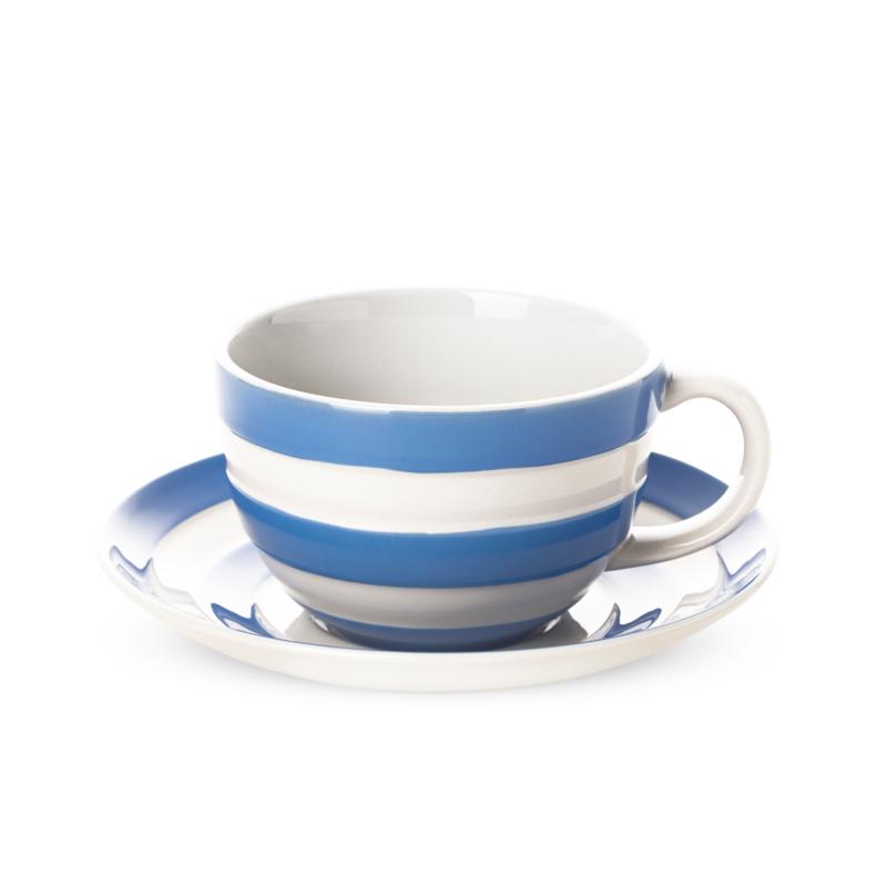 Cornishware Cornishblue kop en schotel L blauw