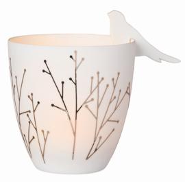 Waxinelichthouder met 2 porseleinen vogels