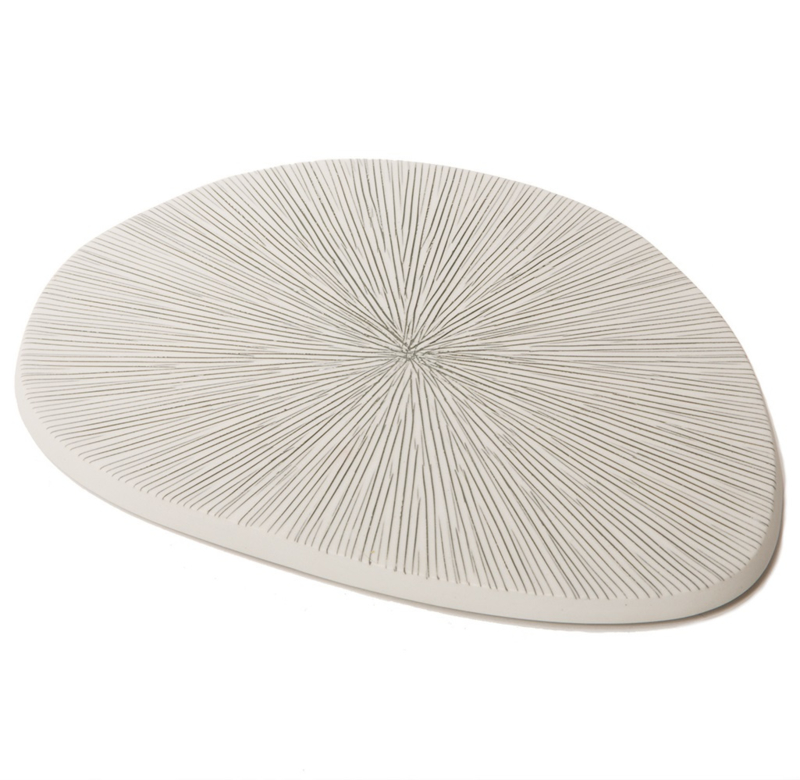 Lindform -plate - Wit/grijs gestreept