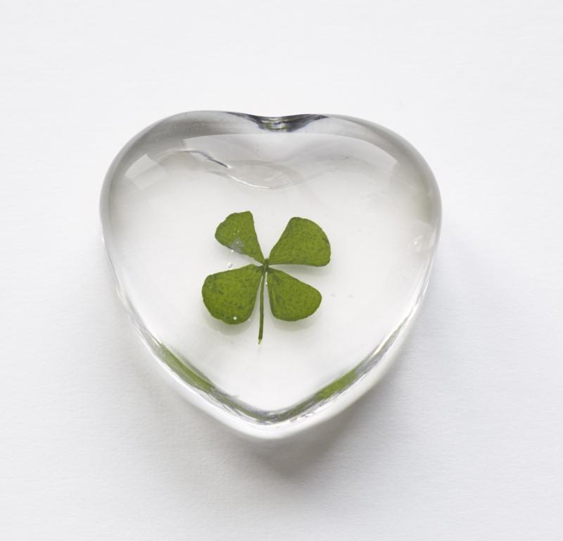 Klaver in glazen hart - set van 2