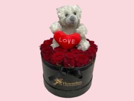 Flowerbox teddybeer grijs | Maat L