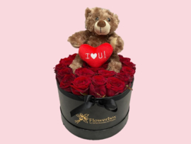 Flowerbox teddybeer bruin | Maat L