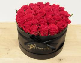 Flowerbox maat L roze rozen