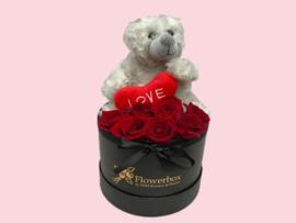 Flowerbox teddybeer grijs| Maat M