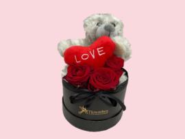 Flowerbox teddybeer grijs | Maat S