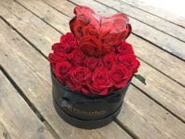 Liefdesbox ballonhartje rozen   Maat S