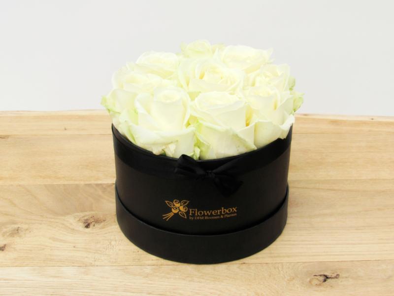 Flowerbox witte rozen maat S