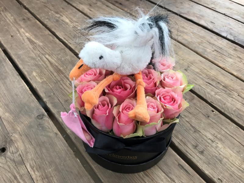 Kraambox roze met ooievaar | Maat L