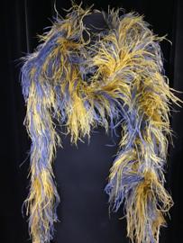 Boa geel blauw struisvogelveer