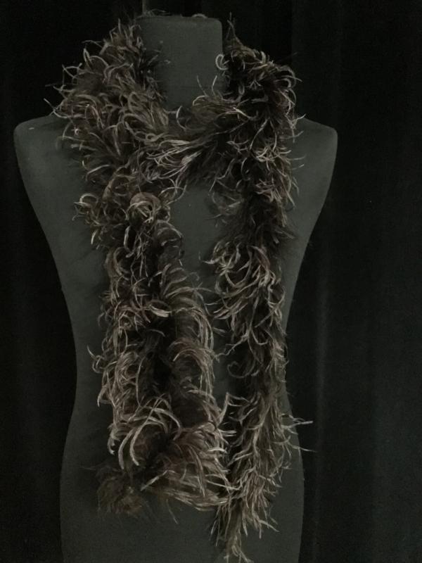 Marabou bruin met struisvogel curled