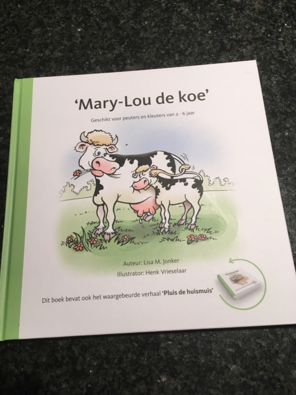 "Kinderboek ""Mary-Lou de koe"" & ""Pluis de huismuis"""