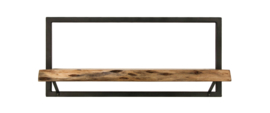 Wandplank Levels Live Edge - 70x32 cm - acacia/ijzer