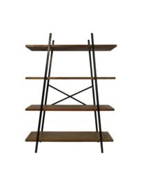 Stellingkast met 4 planken - teak/metaal